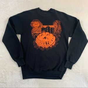 Vintage Halloween Pumpkin Raglan Sweater Small